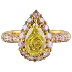 GIA Certified 1.19 Carat Yellow Pear Shape Diamond Gold Ring
