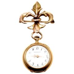Tiffany & Co Patek Philippe Diamond Yellow Gold Lapel Manual Wind Pocket Watch