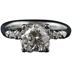 1940s 1.58 Carat EGL Certified Diamond Engagement Ring