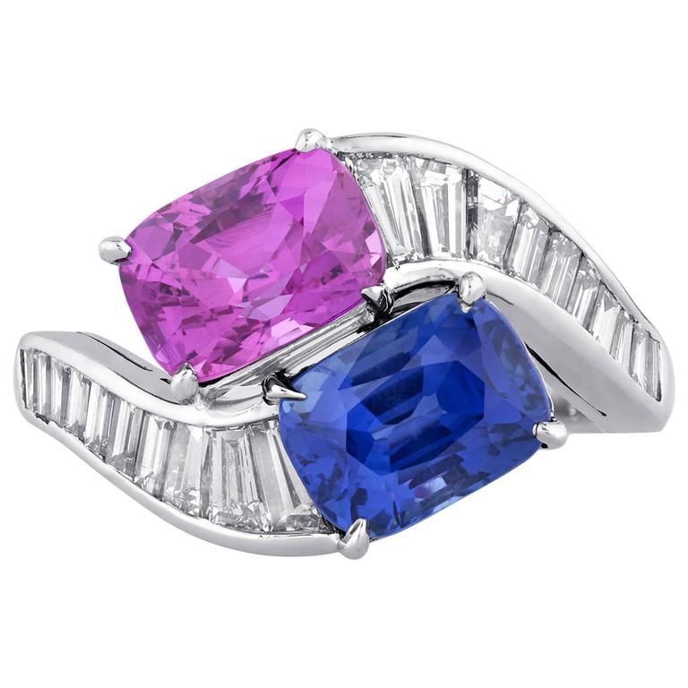 Bulgari Blue and Pink Sapphire Diamond Crossover Ring  1