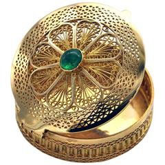 Emerald and Gold Filigree Pill Box