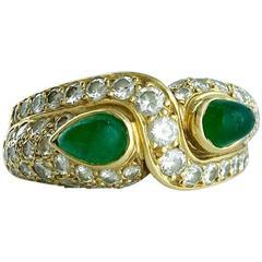 Boucheron 'Vous et Moi' Emerald Diamond and Gold Ring