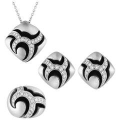 Oro Trend 4.00 Carats Diamond Gold Earrings Ring Pendant Four-Piece Set