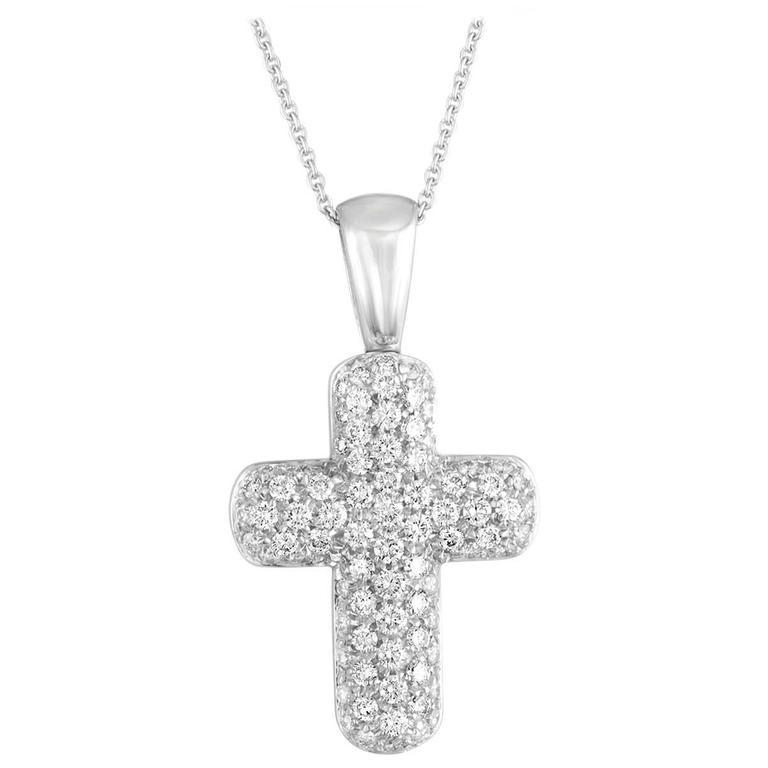 DAMIANI 1.30 Carats Diamond Pave Gold Cross Pendant Necklace