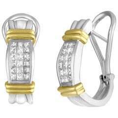 2.00 Carats Diamond Princess Cut Two Tone Gold Half Huggie Earrings
