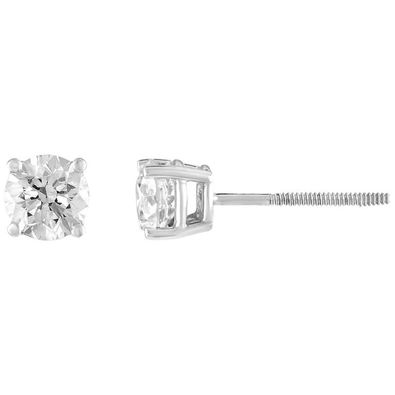 1.00 Carat Diamond Gold Stud Earrings