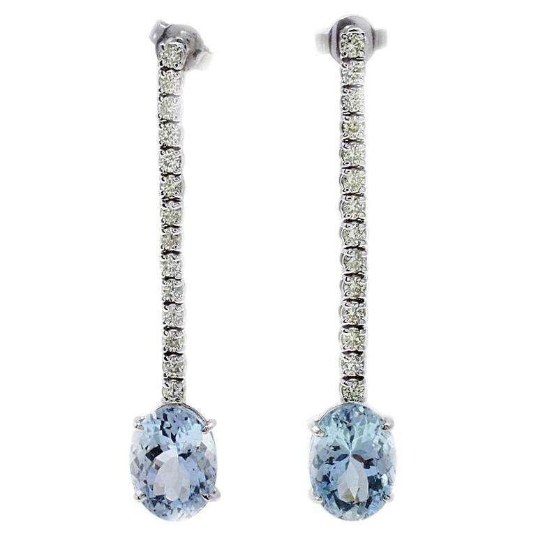 Diamonds and Aquamarine Gold Earrings