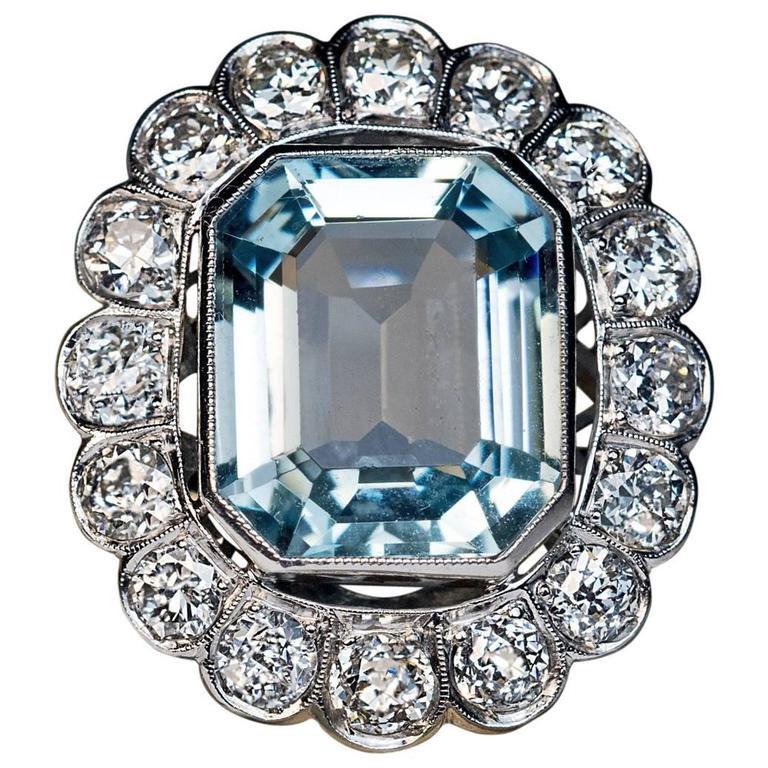 1920s Aquamarine Diamond Platinum Cluster Ring For Sale