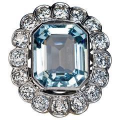 1920s Aquamarine Diamond Platinum Cluster Ring