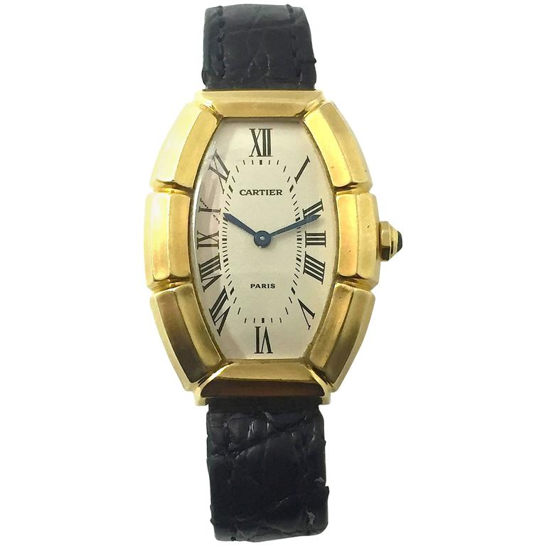 Cartier Paris  Tonneau Shape Yellow Gold  Automatic Wristwatch 1