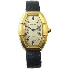 Cartier Paris  Tonneau Shape Yellow Gold  Automatic Wristwatch
