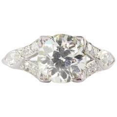 Art Deco Platinum 2.2 Carat Old European Diamond Engagement Ring Circa 1920's
