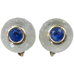 Michael Kneebone Blue Sapphire Rock Crystal Stud Earrings