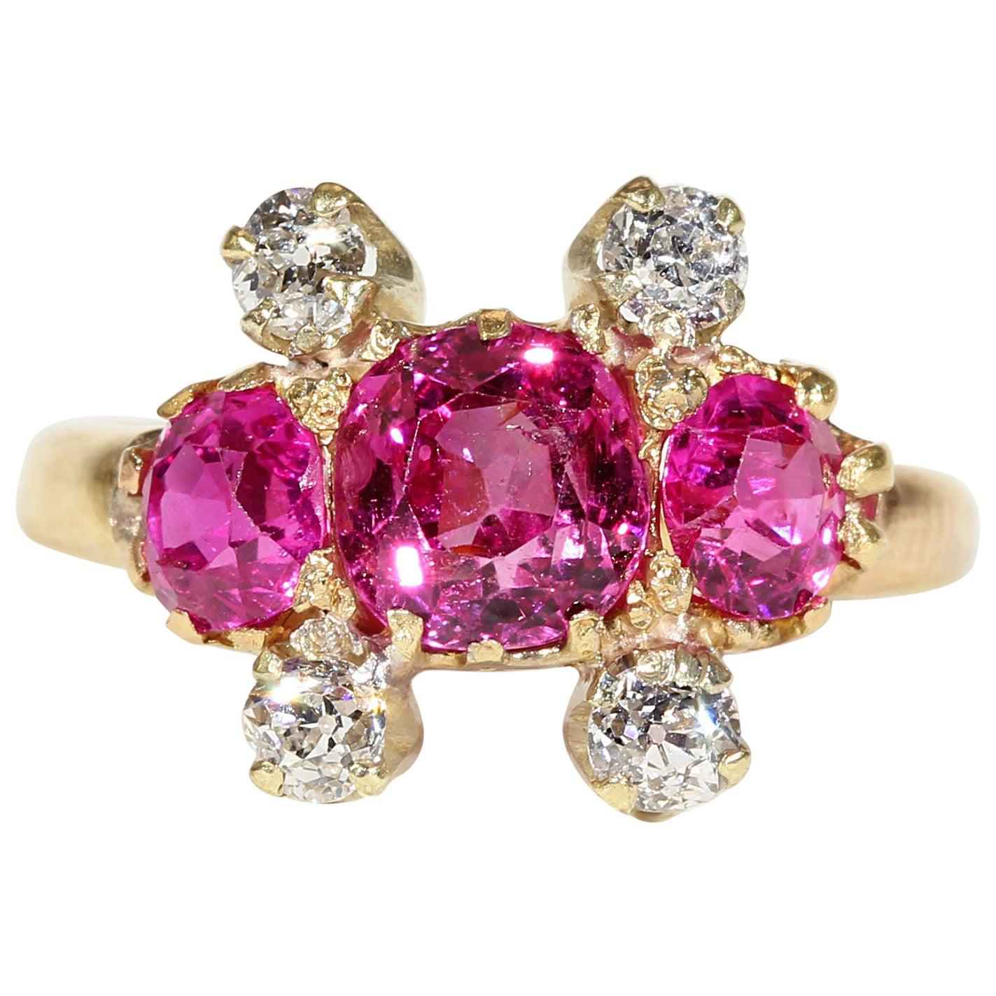 Antique Edwardian Ruby Diamond Ring Gypsy Set Gold Ring, 1909 at 1stdibs