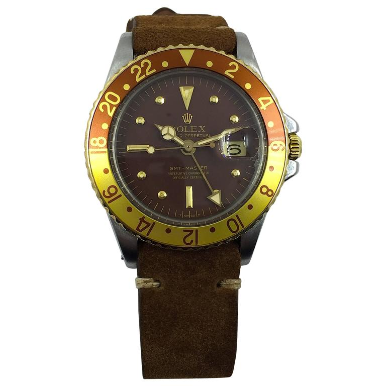 Rolex Stainless Steel Yellow Gold Oyster Perpetual GMT Master Auto Wristwatch