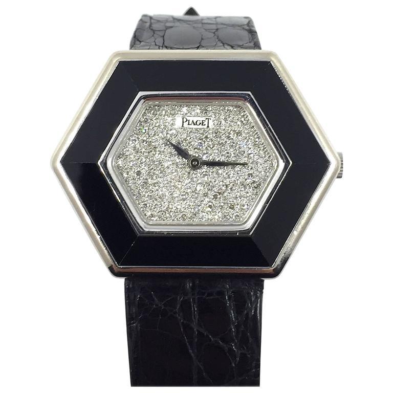 Piaget White Gold Onyx Pave Diamond Dial Manual Wind Wristwatch