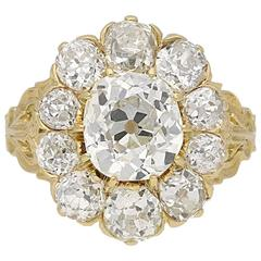 Antique Victorian old mine diamond coronet cluster ring