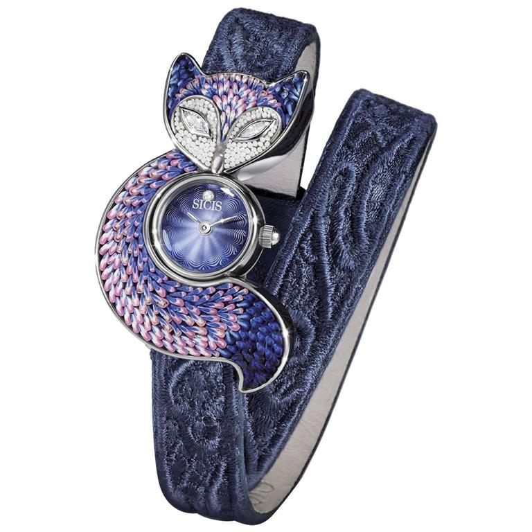 Sicis Stainless Steel Crazy Fox Blue Feather Micromosaic Quartz Wristwatch