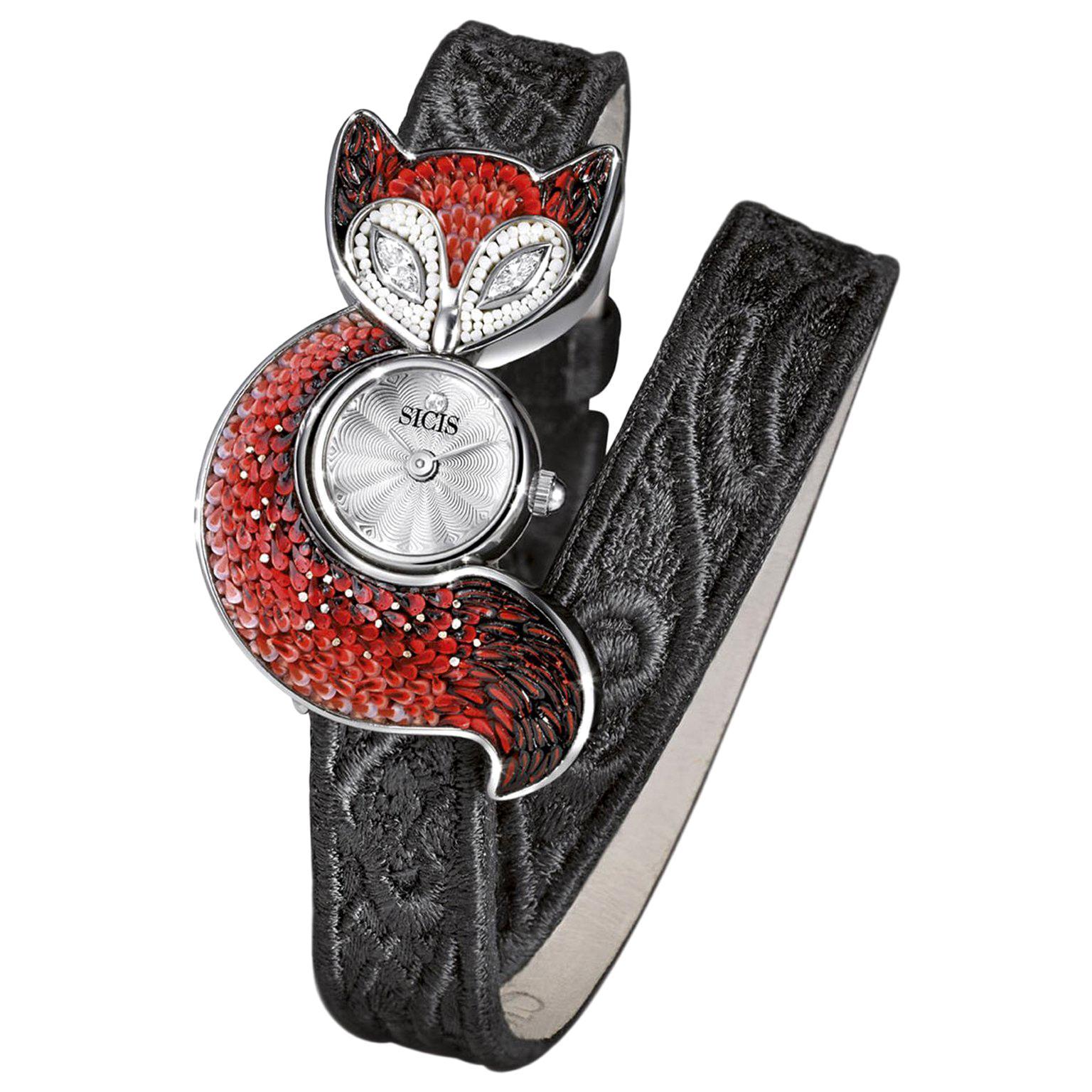 Stylis Wristwatch Steel Case White Diamond Handmade Decorated Micromosaic