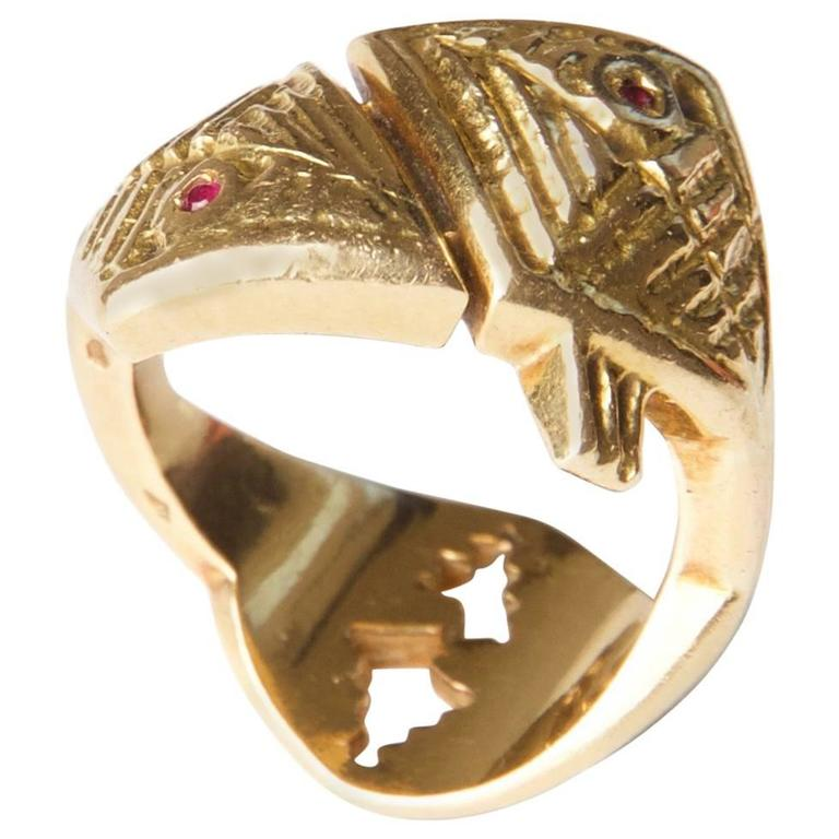 Rare 1962 Georges Braque  'Arethusa' Ruby  Gold Ring