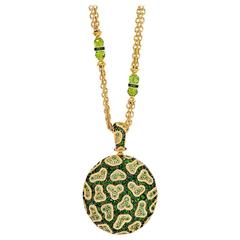 Alex Soldier Chrome Diopside Peridot  Diamond Pendant Necklace