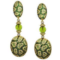 Diamond Chrome Diopside  Mint Grossularite Fine Lace Drop Earrings
