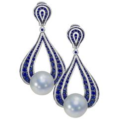 Diamond Blue Sapphire Freshwater Pearl One of a kind  Earrings