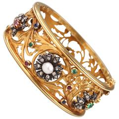 Antique Napoleon III Gem-set gold Cuff Bracelet
