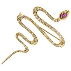 Vintage Gold Diamond and Ruby Snake Brooch