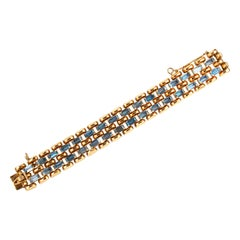 Retro Aquamarine 18K Yellow Gold Bracelet