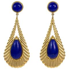 1970s  Lapis Lazuli Gold Long Drop Earrings