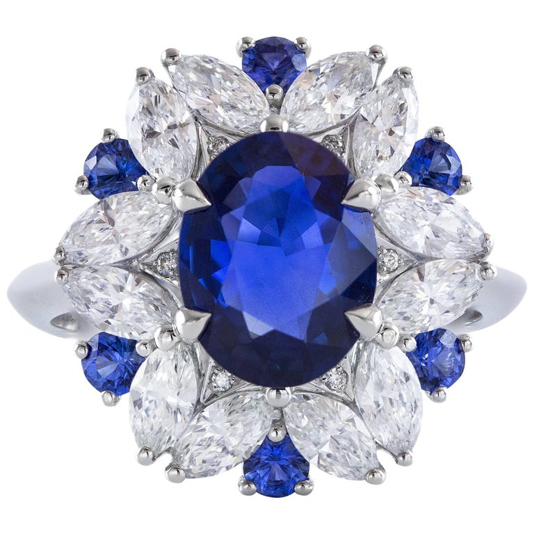 GRS Certified 2.45 Carat Royal Blue Natural Sapphire Diamond Gold Ring For Sale