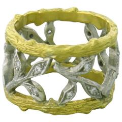 Cathy Waterman Gold Platinum Diamond Wide Leaf Band Ring