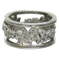 Cathy Waterman Platinum Diamond Wide Band Ring