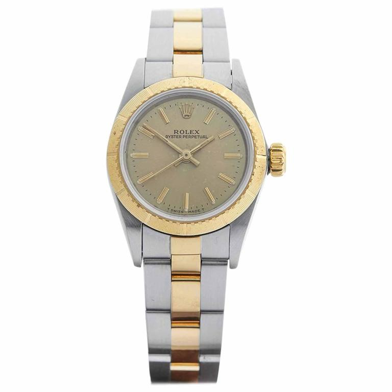 Rolex Ladies Yellow Gold Stainless Steel Oyster Perpetual Automatic Wristwatch For Sale