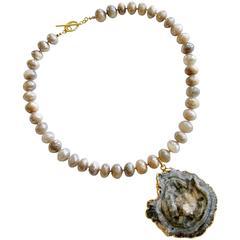 Champagne Mystic Moonstone Necklace Conchina Druzy Pendant