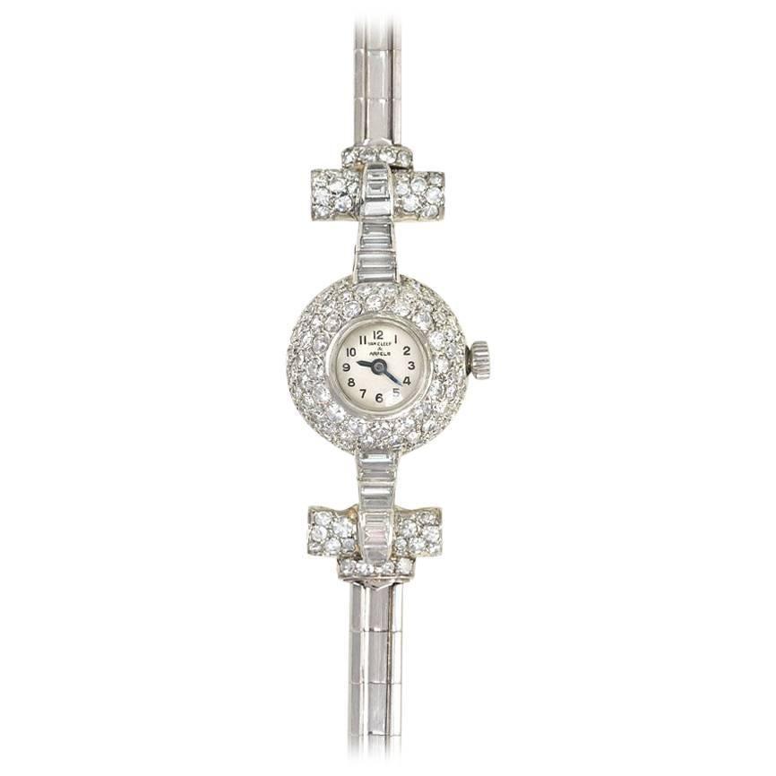 Van Cleef and Arpels, France Art Deco Diamond and Platinum Dress Bracelet Watch