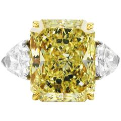 7.17 Carat Fancy Yellow Radiant Cut Diamond Ring GIA
