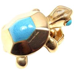 Cartier Turquoise Yellow Gold Turtle Tie Lapel Pin