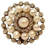 Old European Cut Diamond and Natural Pearl Brooch