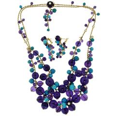 "Cartier ""Delices de Goa"" Amethyst Turquoise Diamond Necklace and Earring Set"