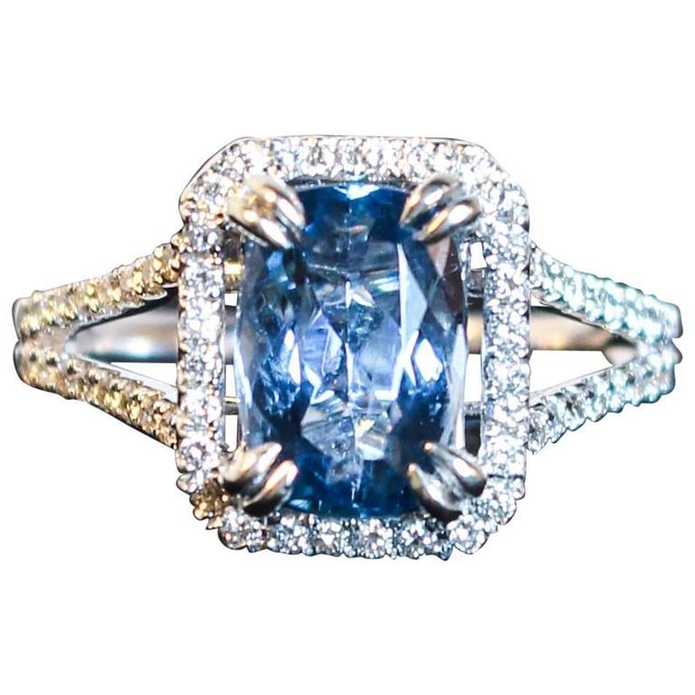 2.47 Carat Aquamarine Pave Diamond Ring