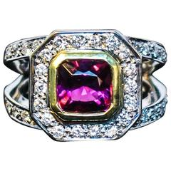 Rubelite and Pave Diamond Cocktail Ring