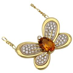 Diamond citrine and Gold Butterfly Necklace