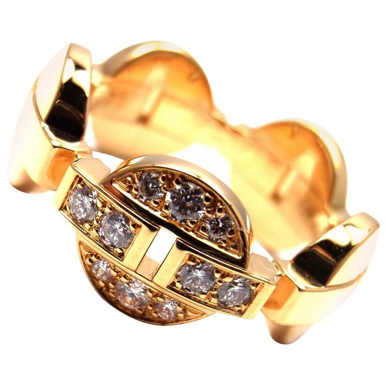 CARTIER Himalia Diamond Yellow Gold Band Ring For Sale at 1stdibs