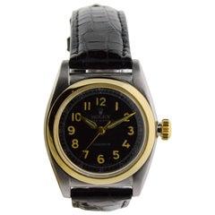 Rolex Watch Company Stainless Steel Gold Bezel Bubble Back Watch