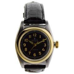 Rolex Watch Company Stainless Steel Gold Bezel Bubble Back Wristwatch