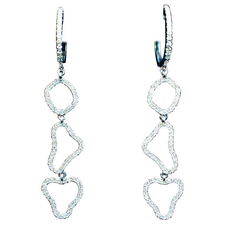 White Gold Pave Dangle Diamond Earrings