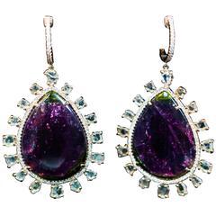 Sliced Tourmaline Pave Diamond Rose Gold Dangle Earrings