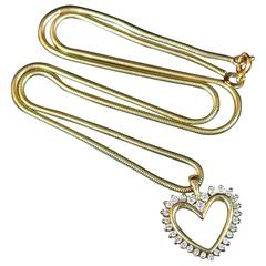 Yellow Gold and Diamond Heart Necklace